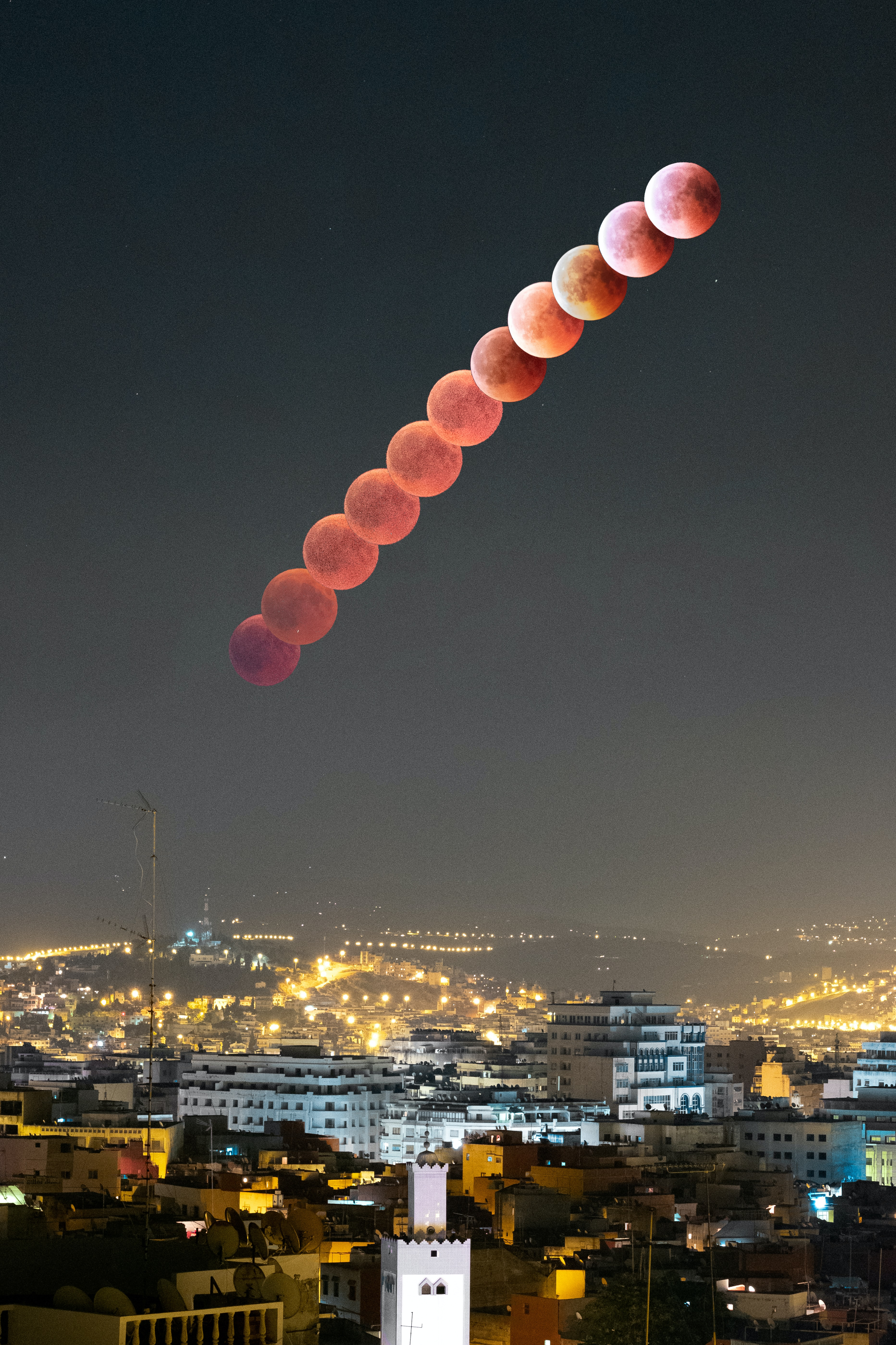 time lapse photography of total lunar eclipse