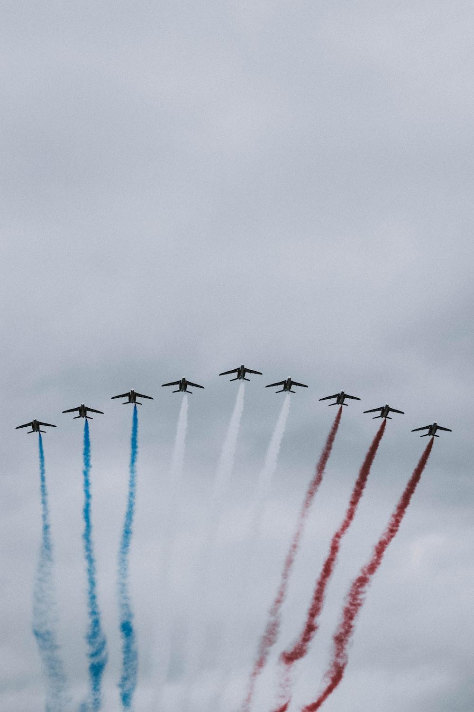 nine plane doing air show