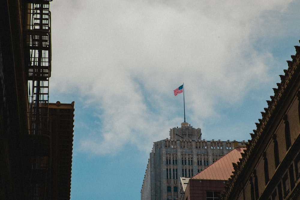 USA flag on white building