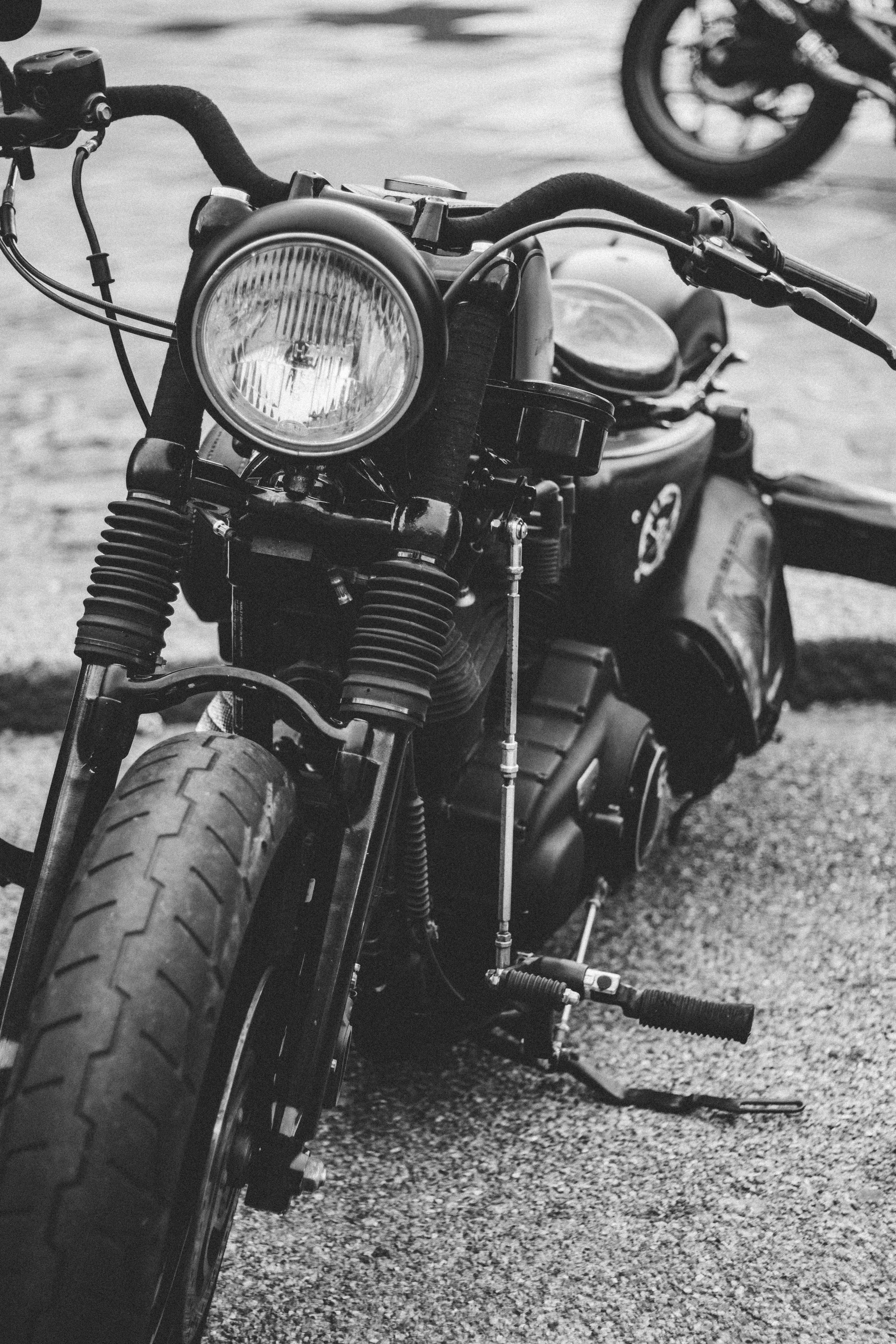 grayscale photo of cruiser motorcycle