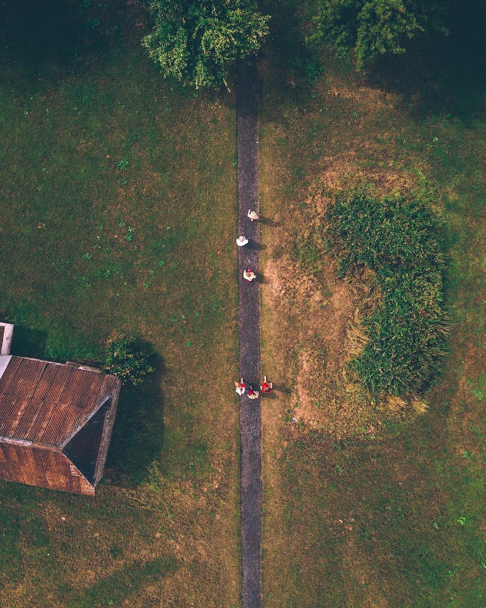six people walking on road near brown house