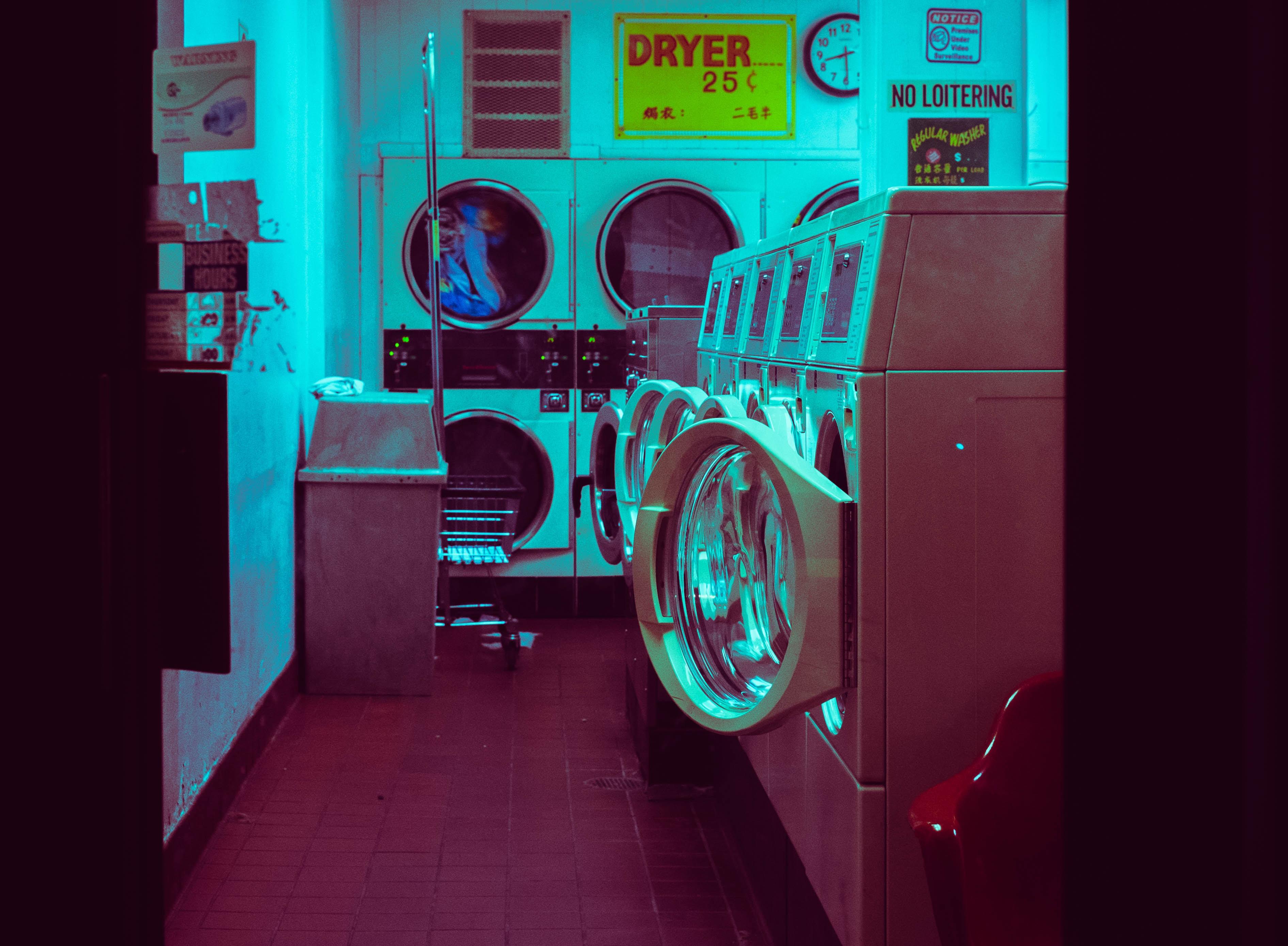 white open laundry machines