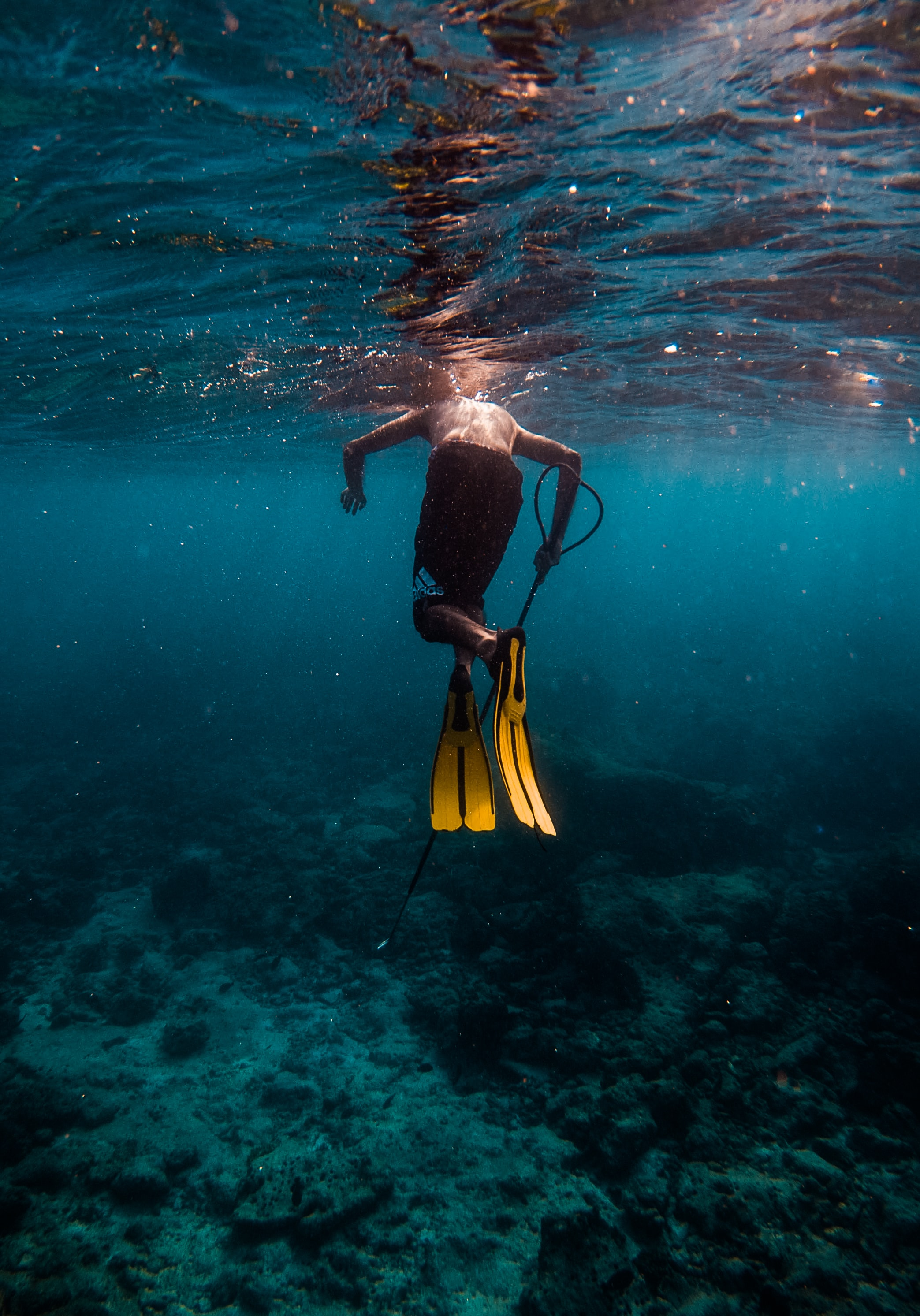 man wearing pair of yellow flippers swimming under water