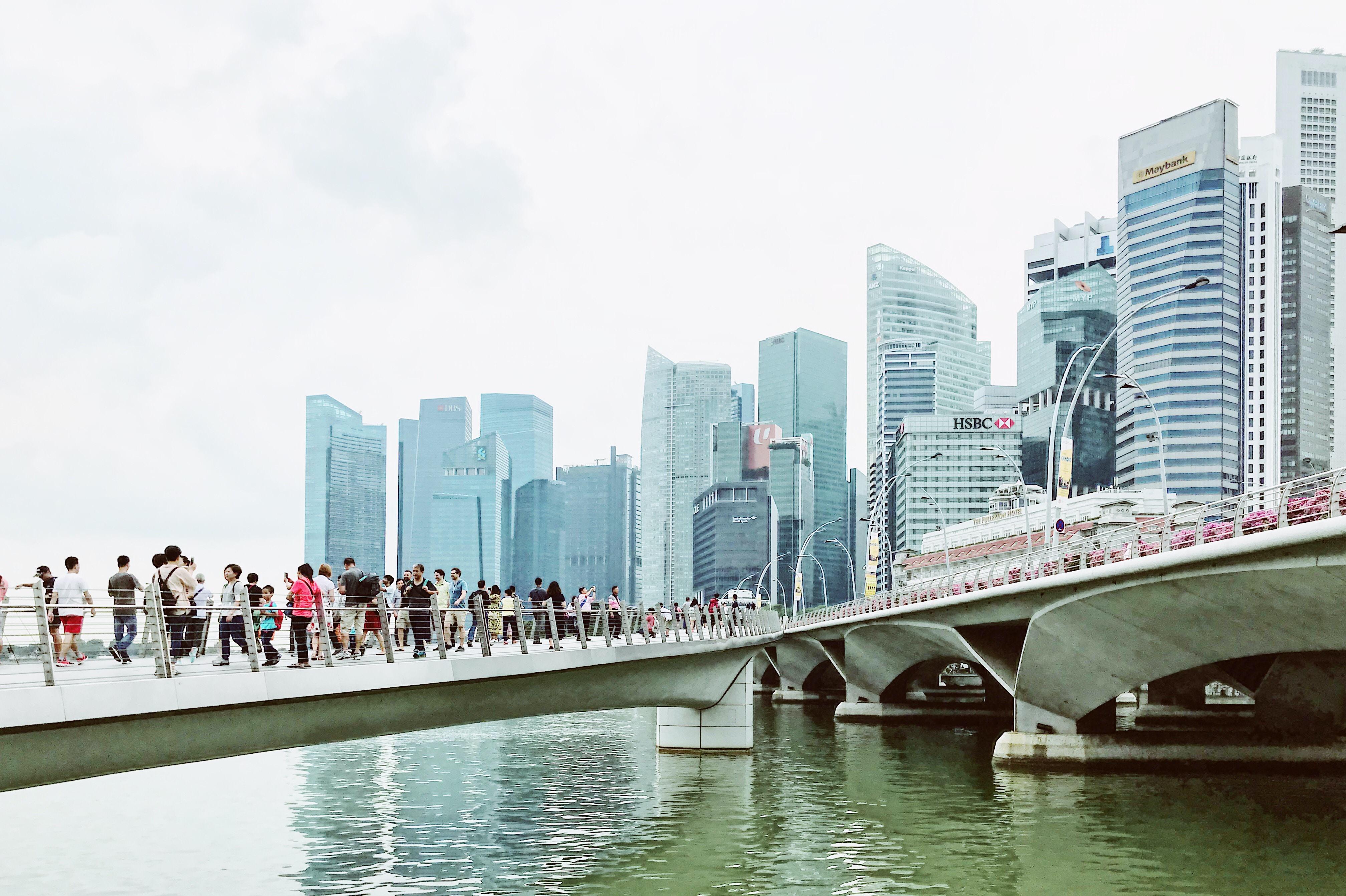 people waking on bridge during daytime