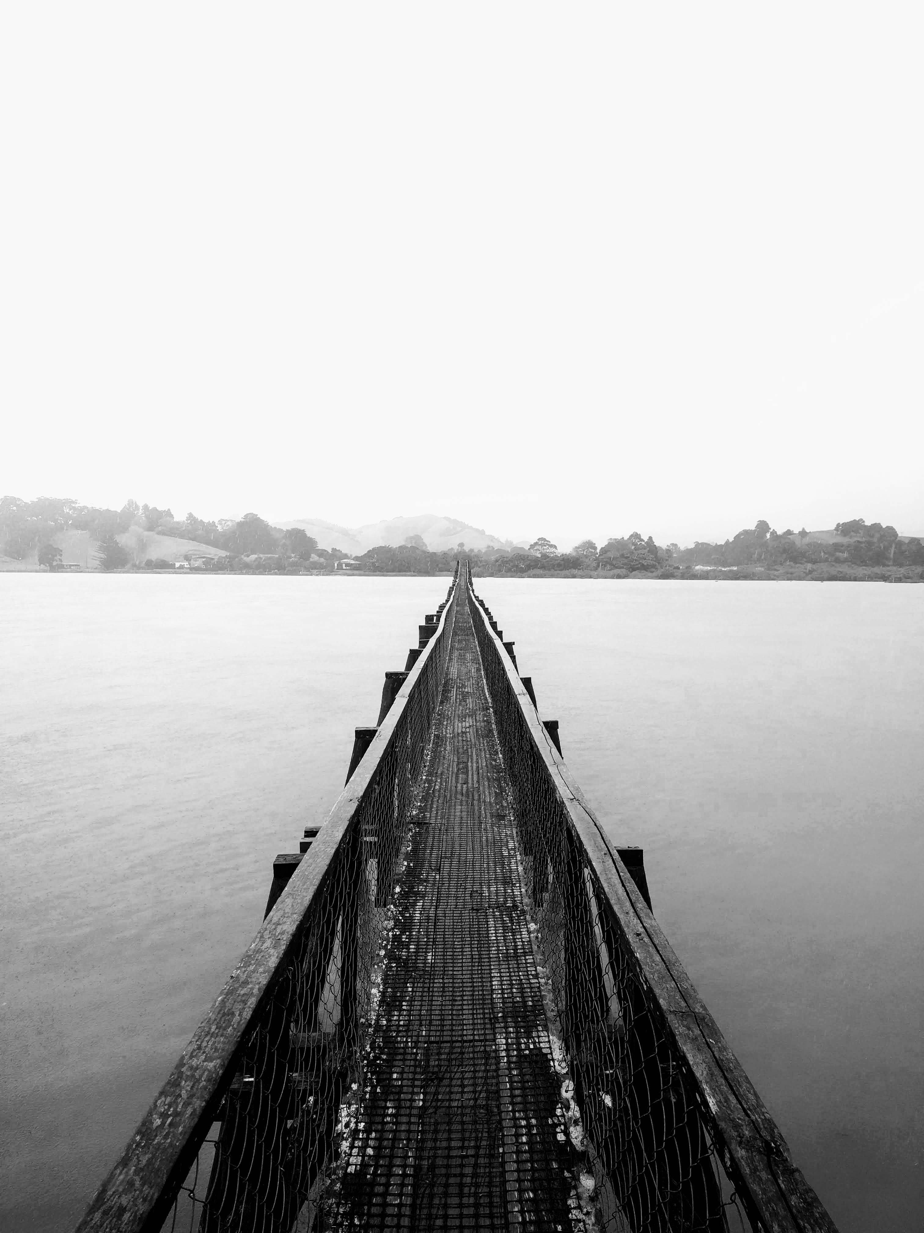 grayscale photo of wooden bridge above water
