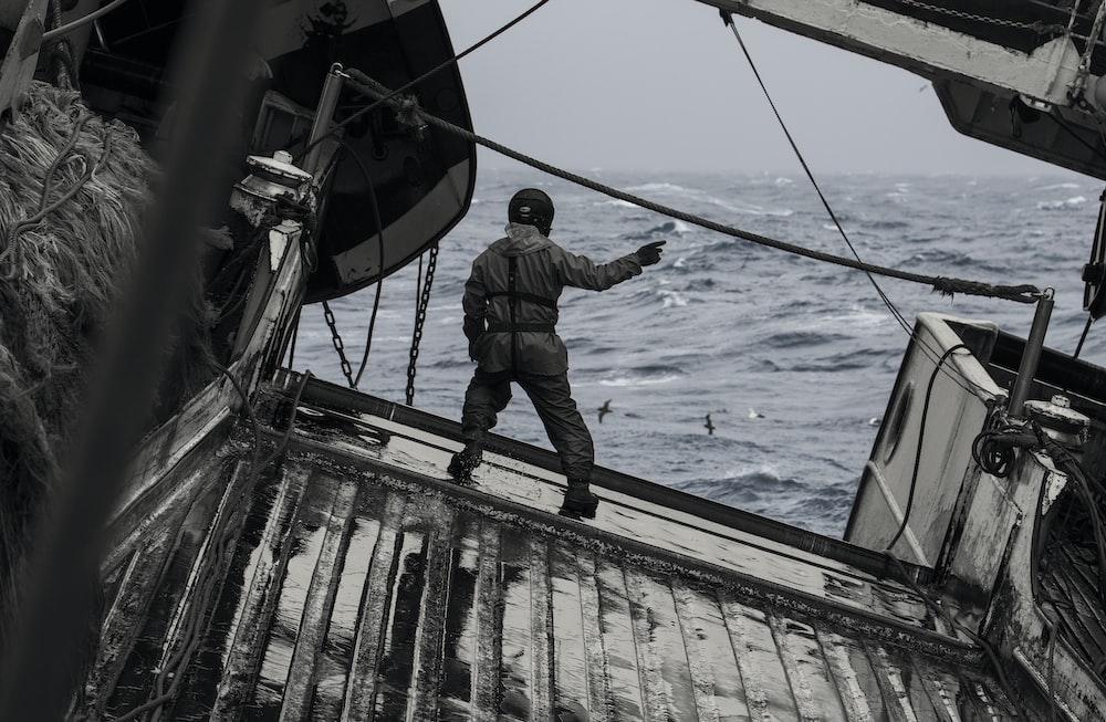 man on fishing vessel
