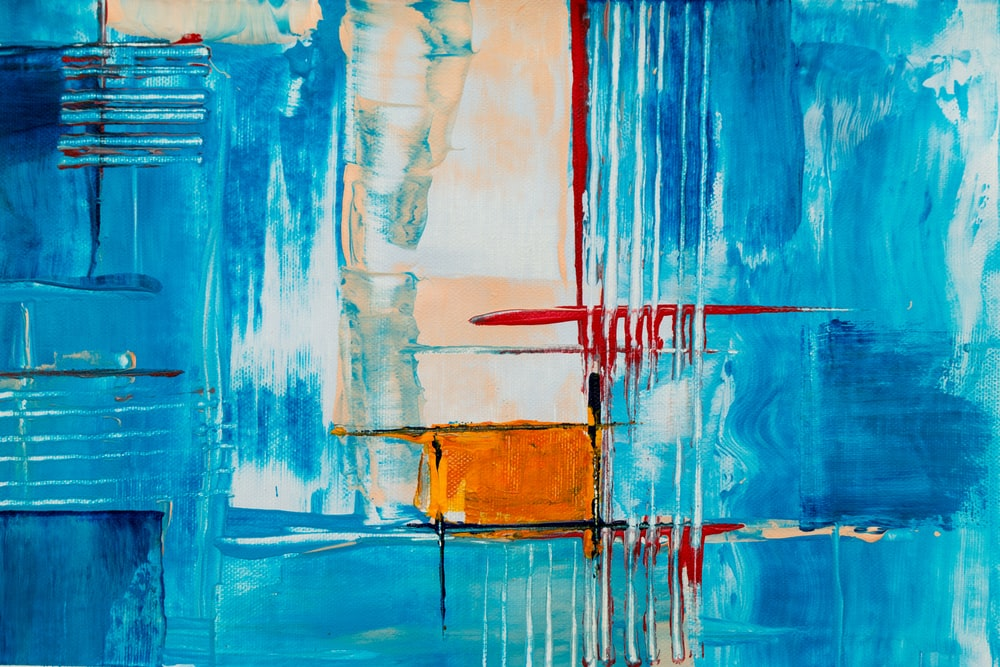 white, red, and blue abstract painting