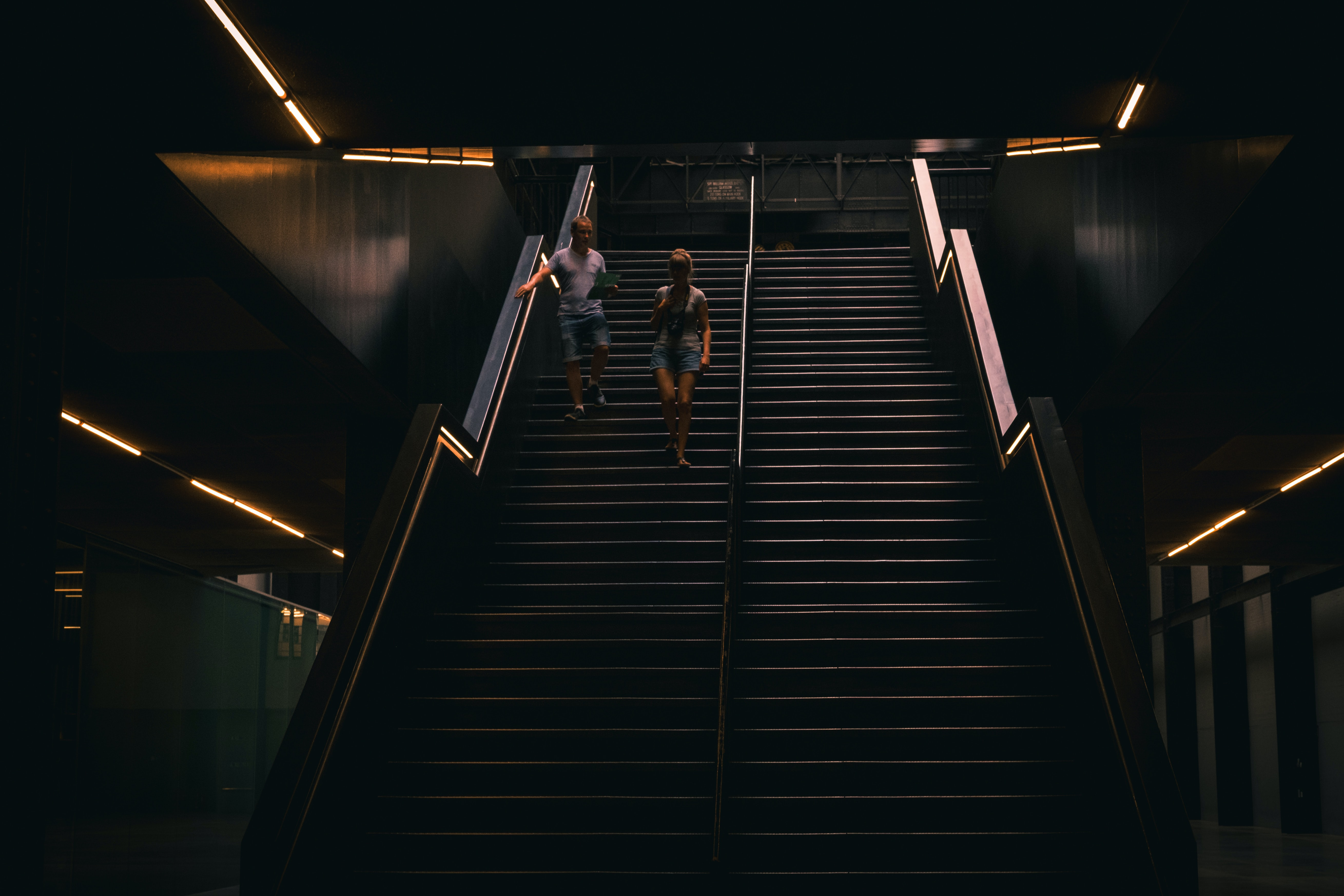 two person on stair