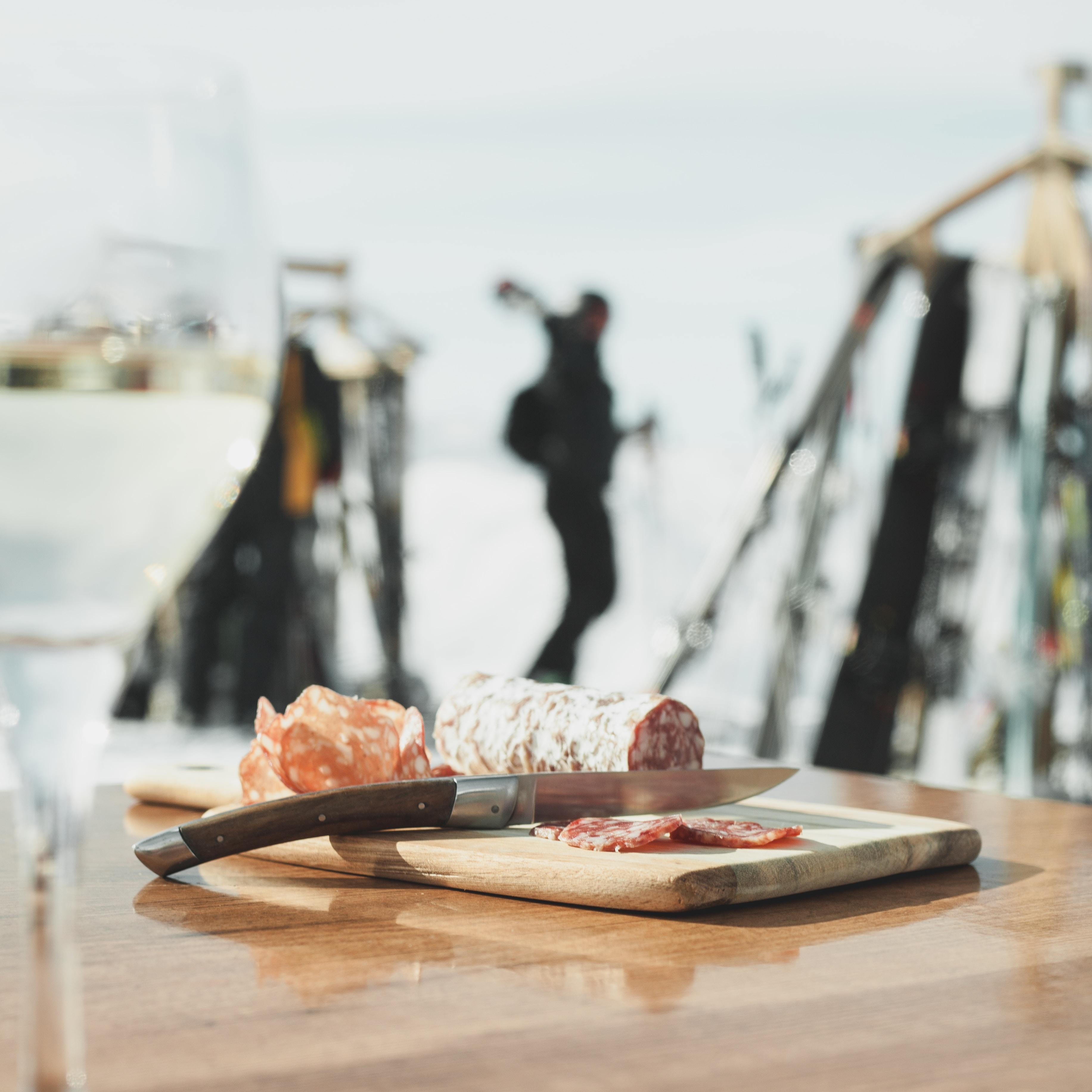 salami sausage on top of cutting board