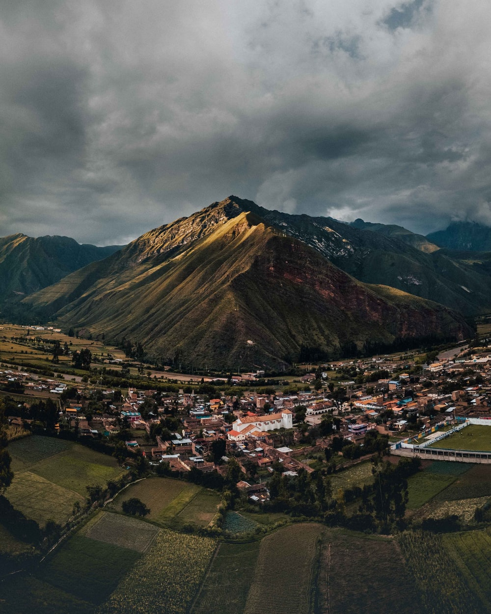 buildings near mountains