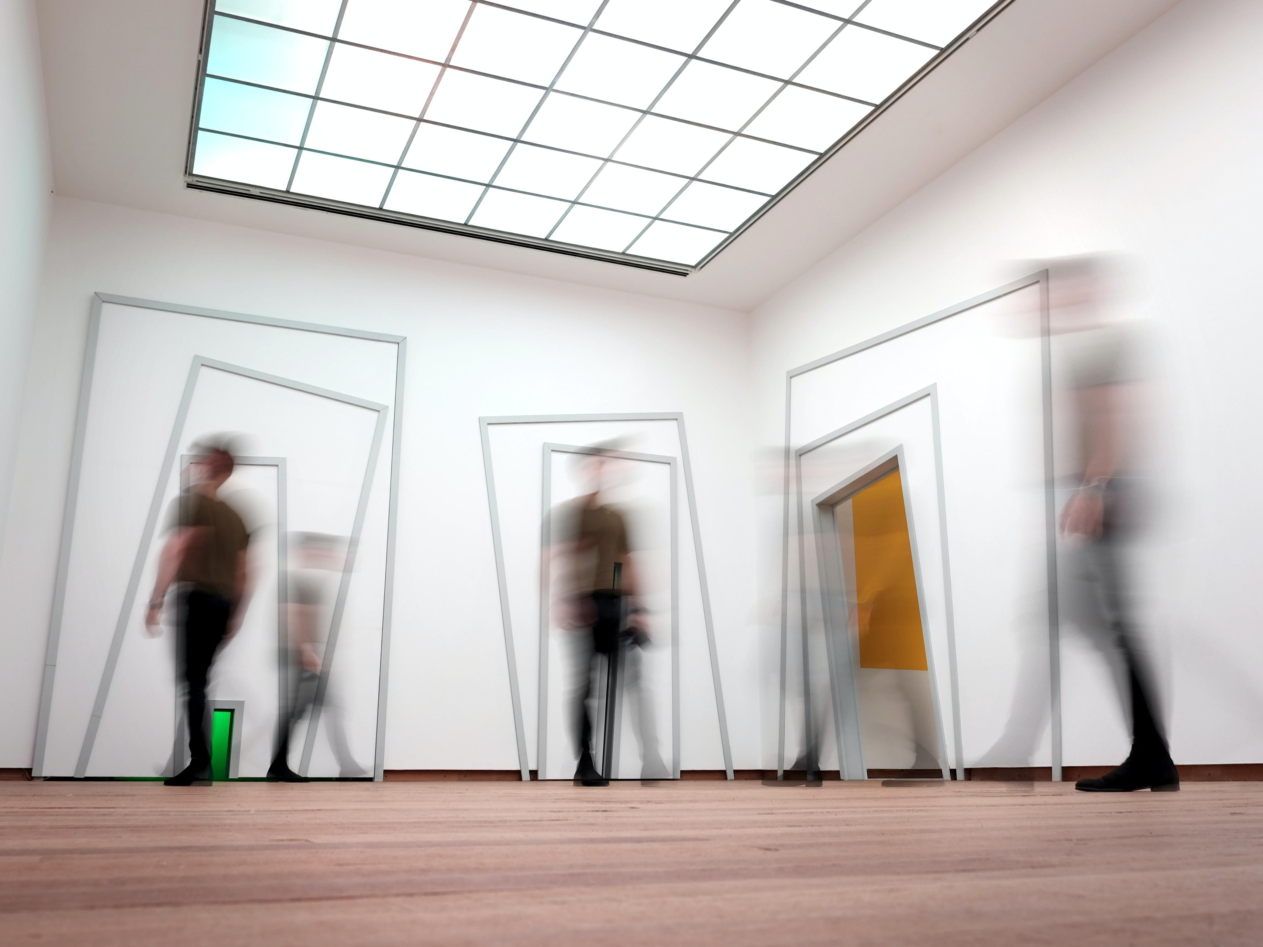 people standing inside room