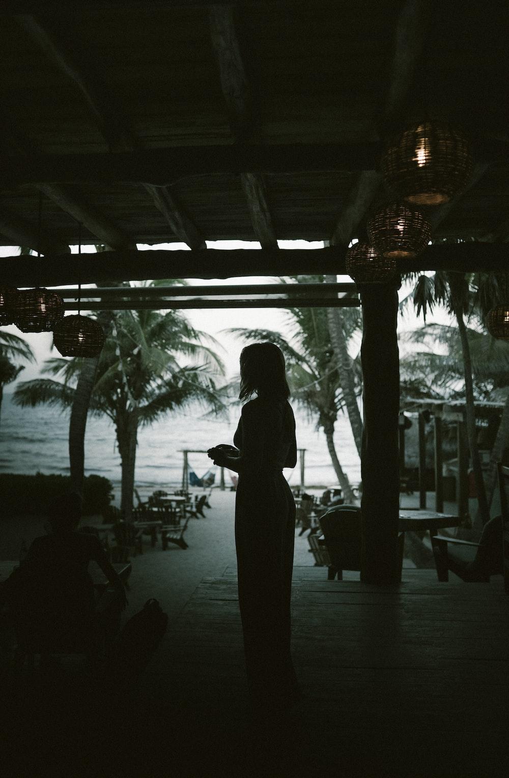 silhouette of woman standing beside beach