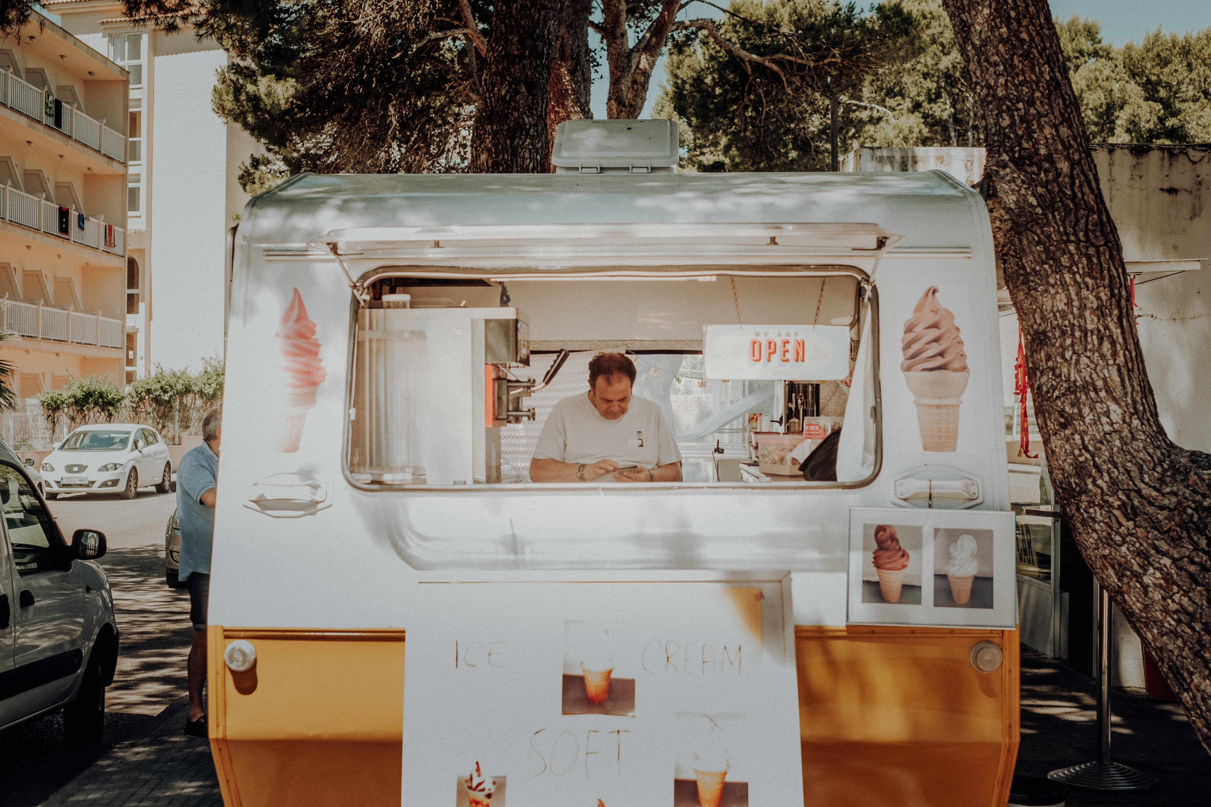 man inside ice cream truck