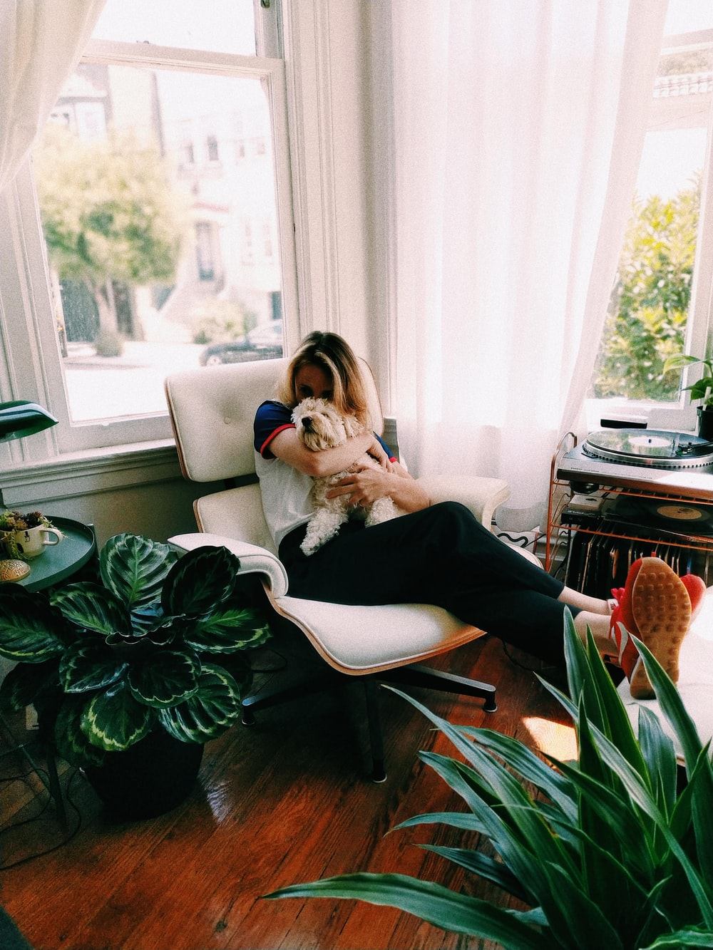 woman kissing dog while sitting on chair