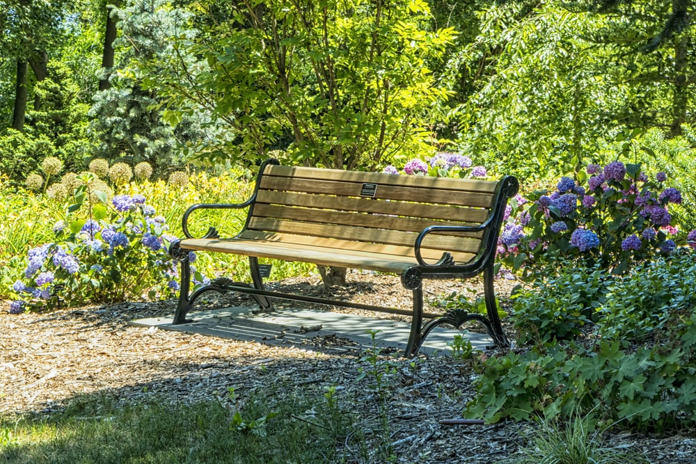 brown and black bench on garden