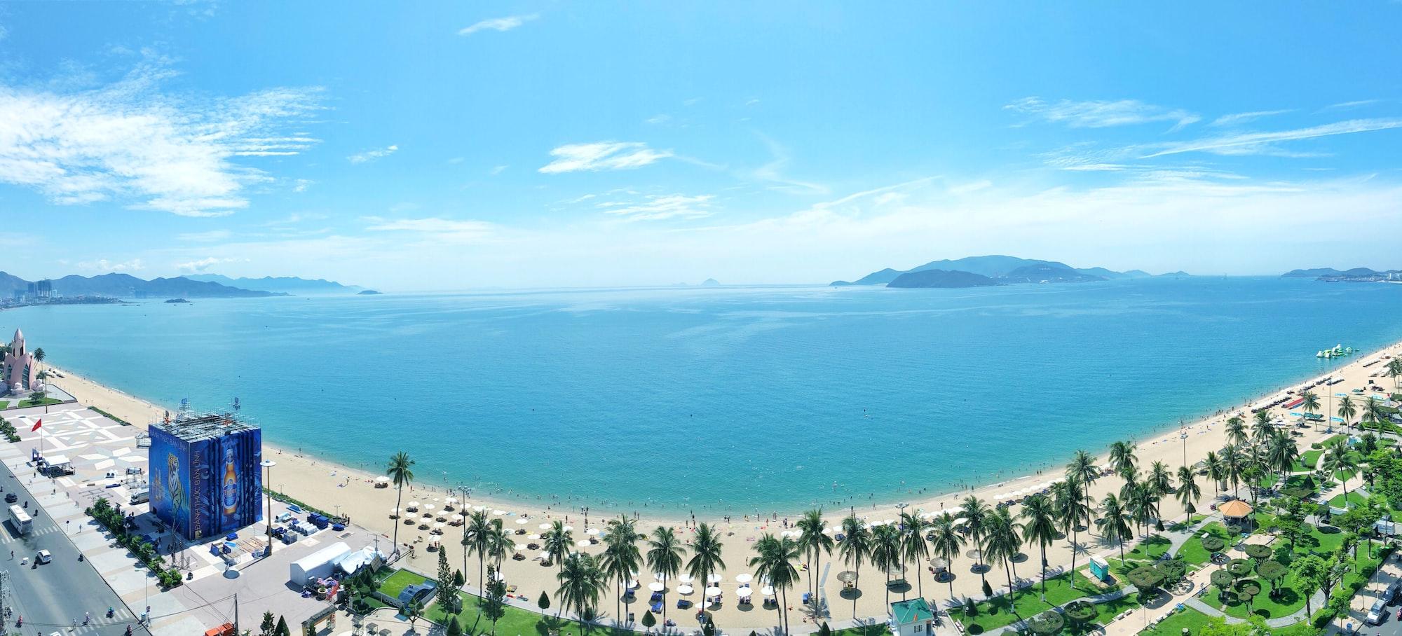 Panoramic view of Nha Trang beach.  Shot from Novotel Nha Trang hotel.