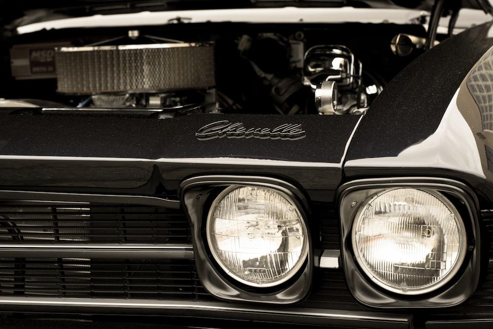 black and white vehicle engine bay