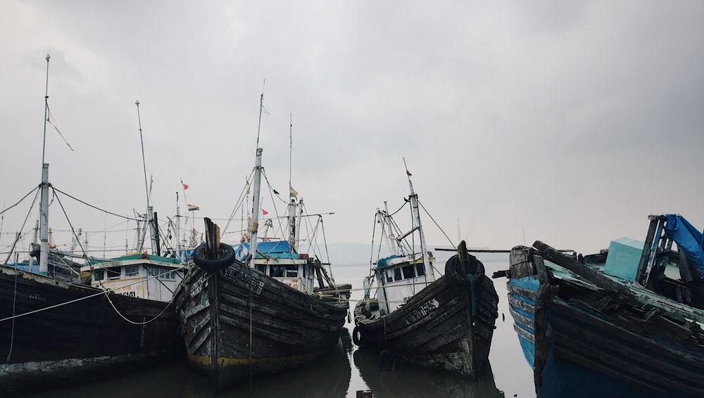 six white-and-black boats on seashore under cloudy sky during daytime