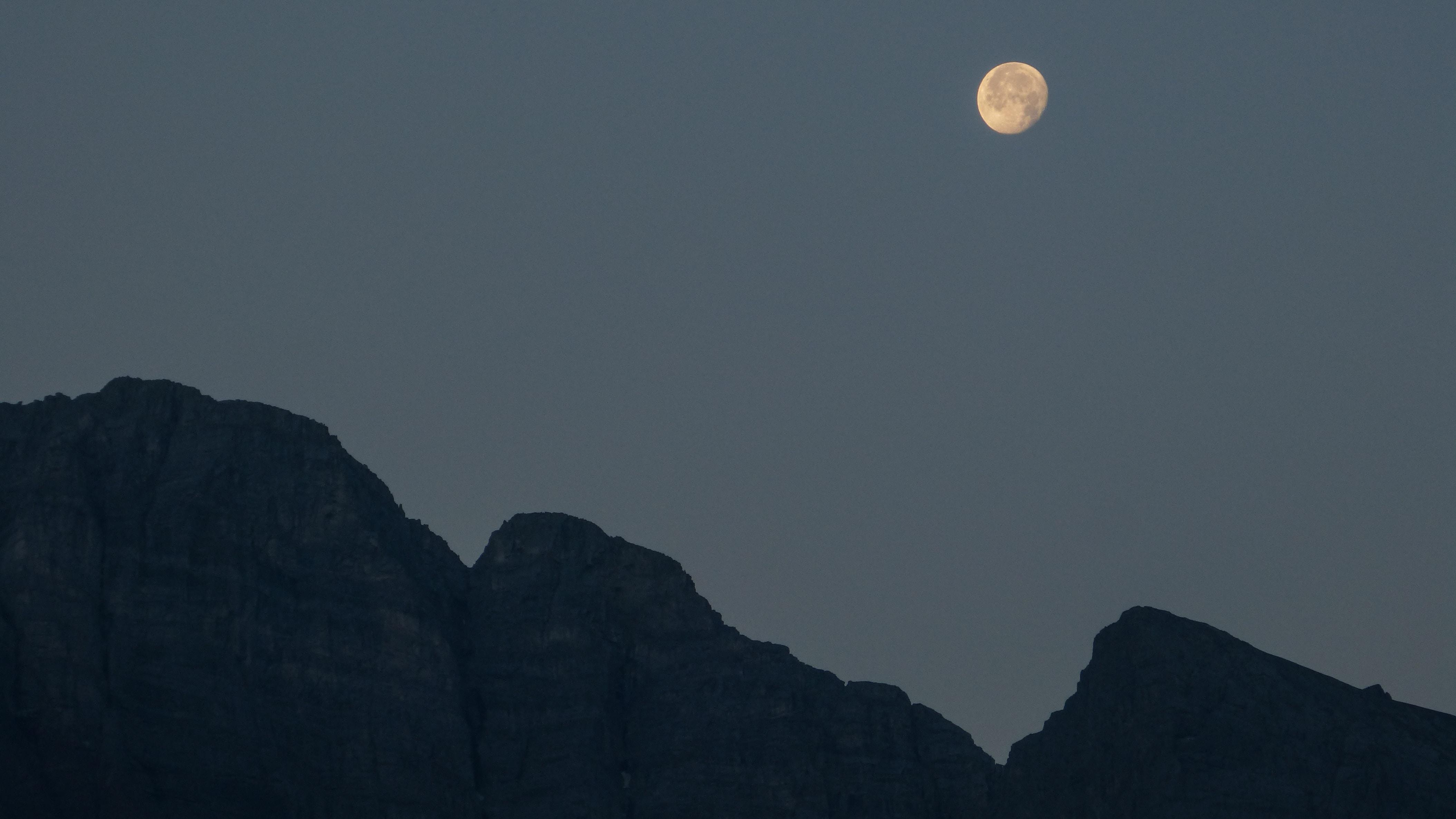 mountain under the moon