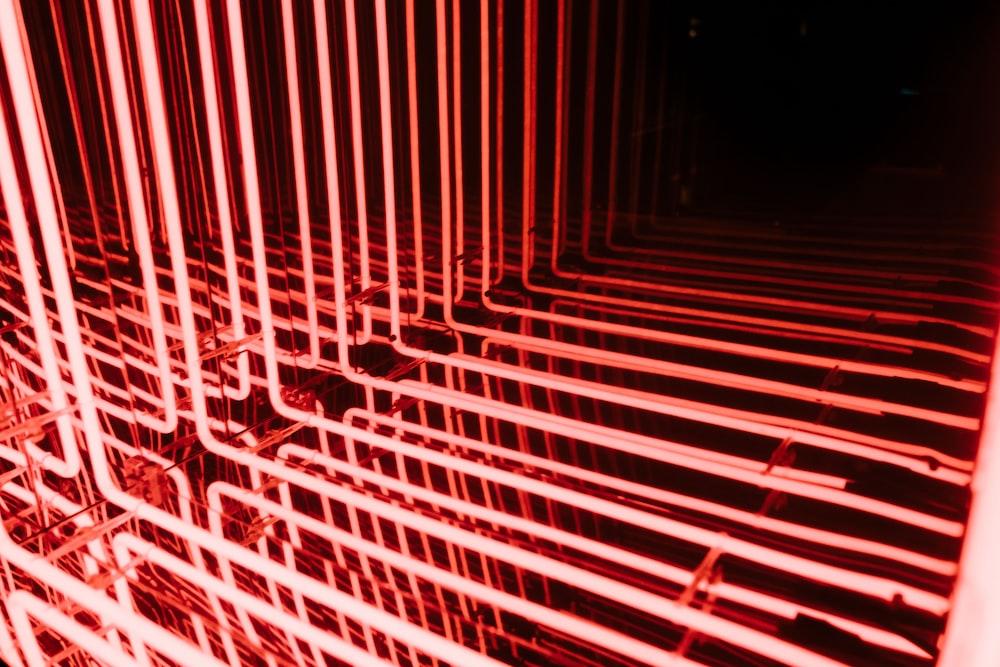 red frame neon lights