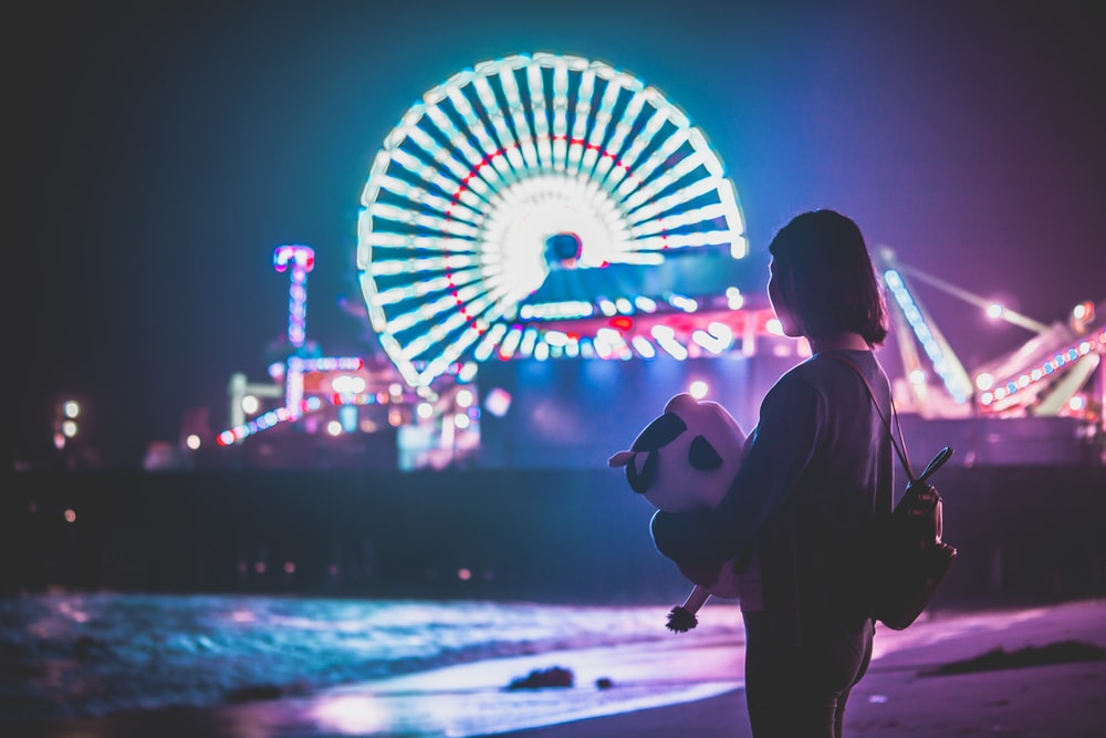 woman standing on shore near themed park during night