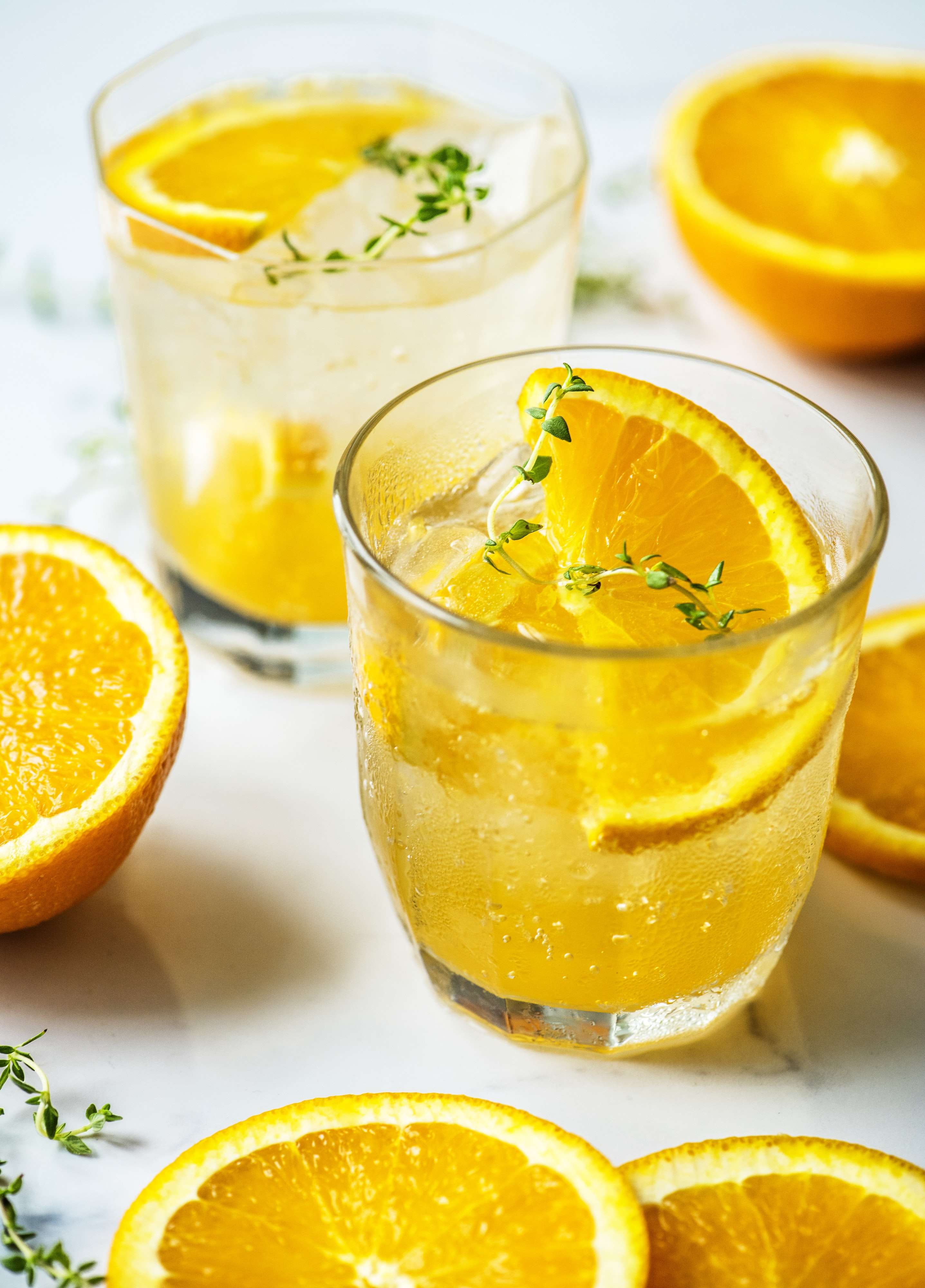 glass filled with orange
