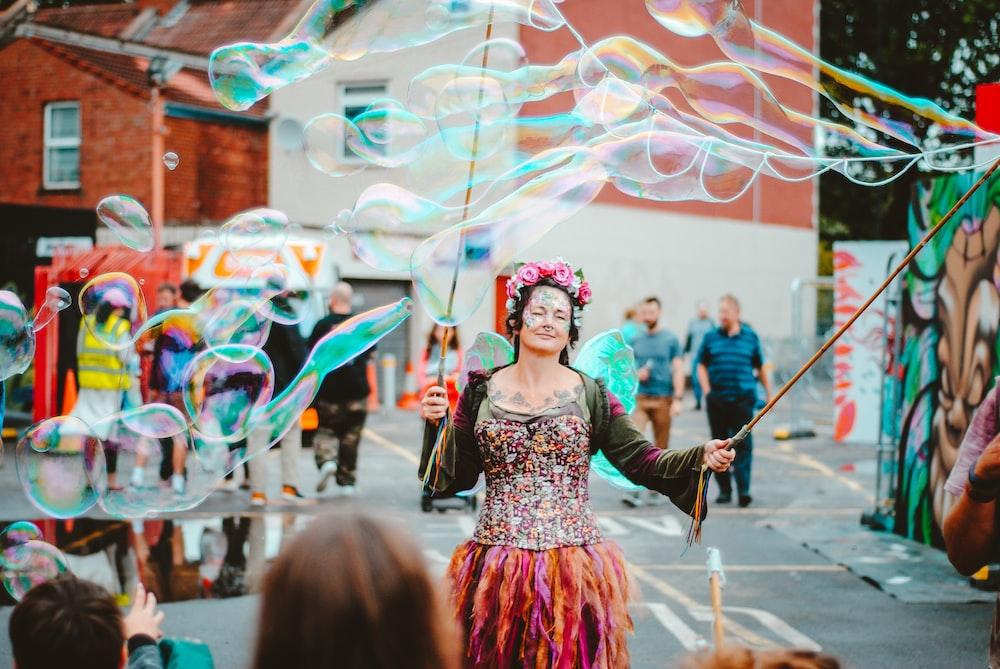 woman in multicolored dress