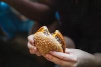 person holding hamburger