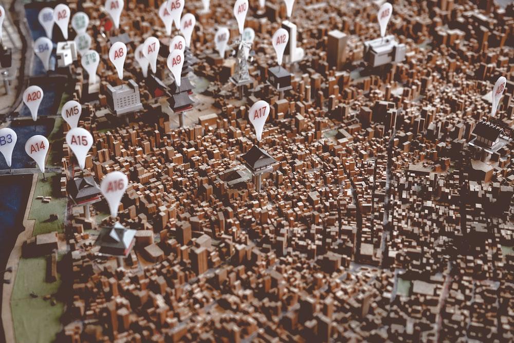 brown and black city landscape 3D map