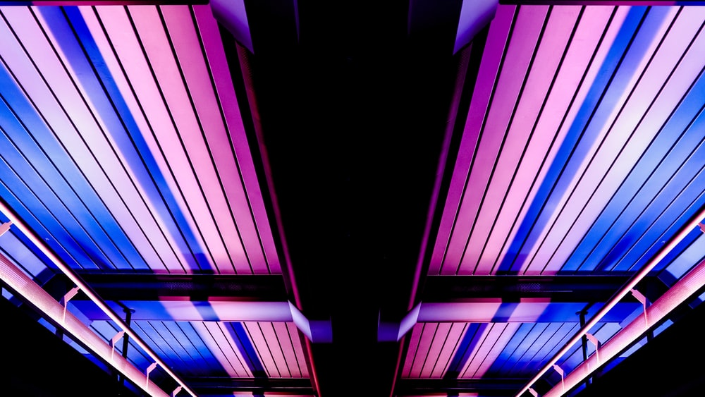purple and blue striped lights