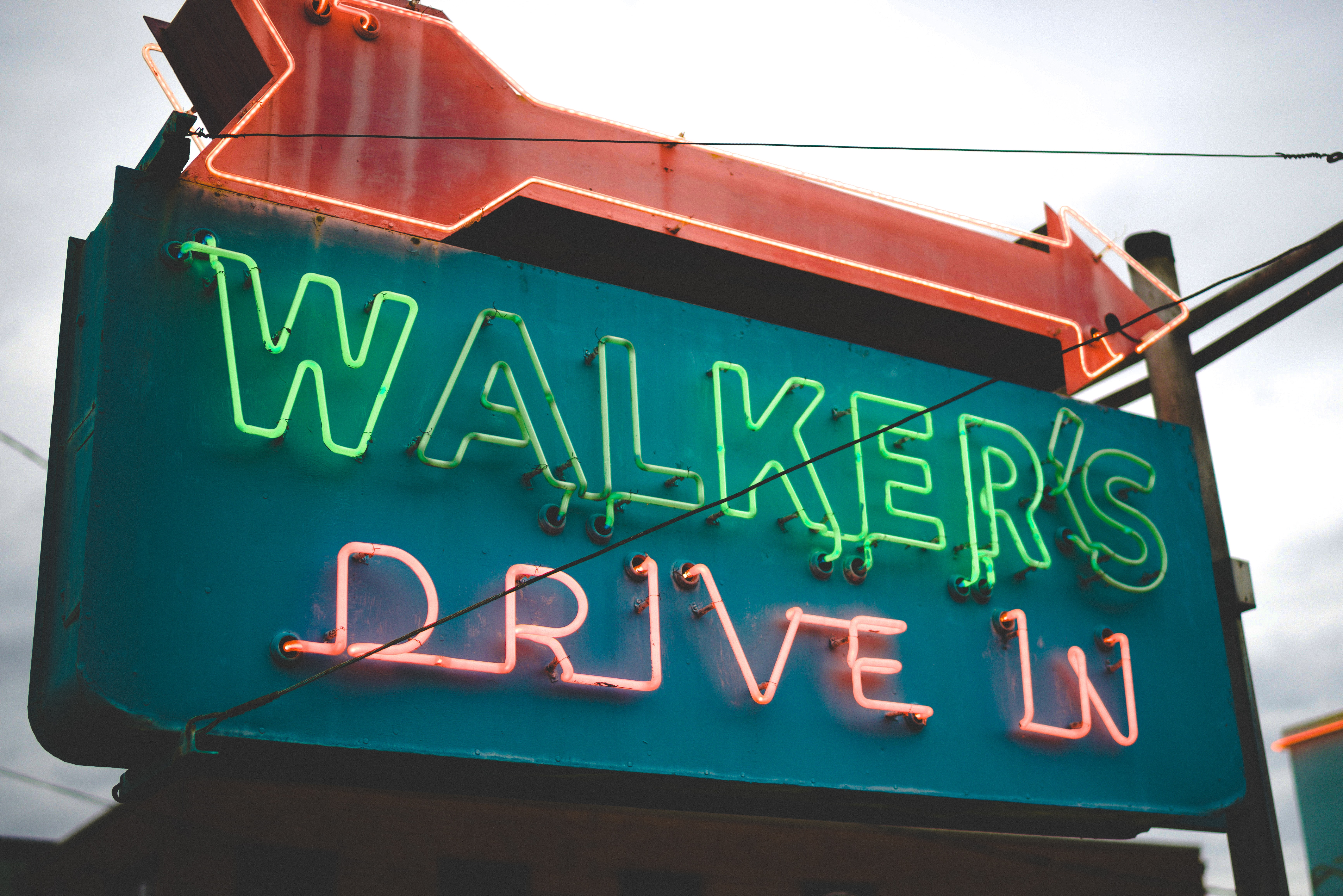 Walker's drive in neon signage