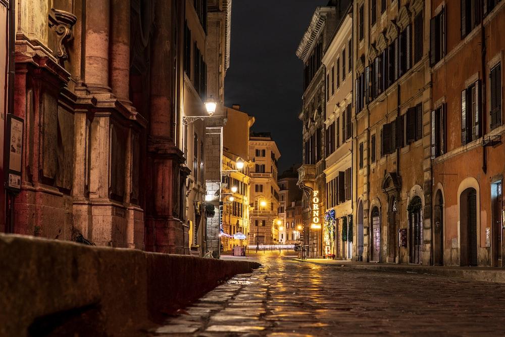 pavement between buildings