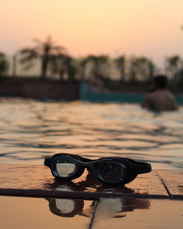 black goggles on dock