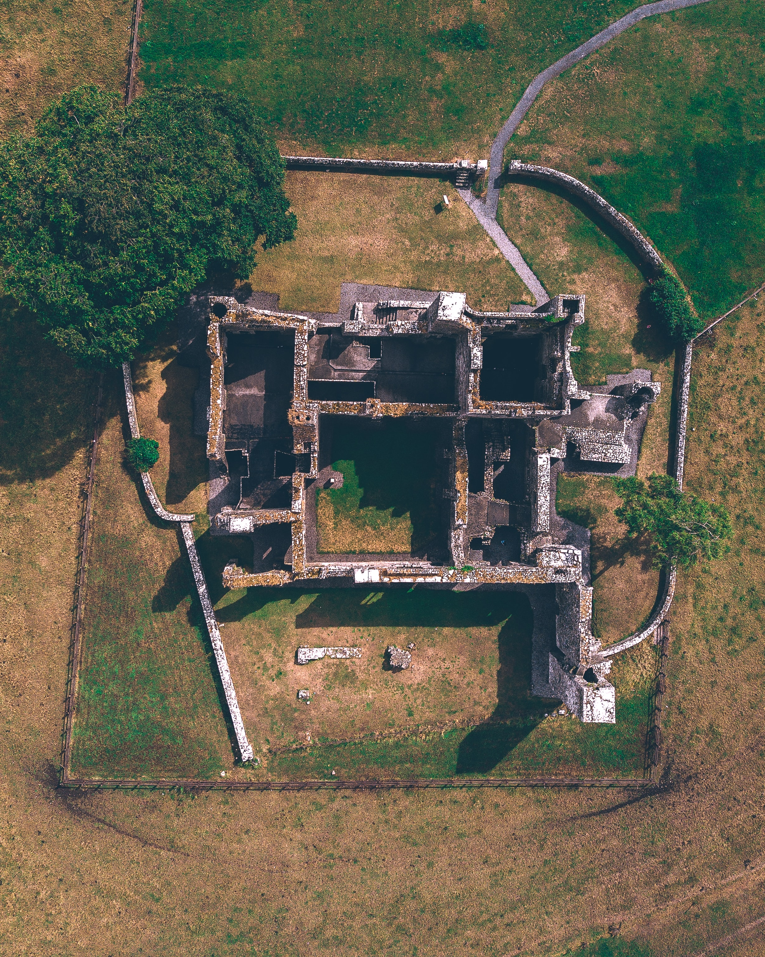aerial view photography of concrete castle beside tree