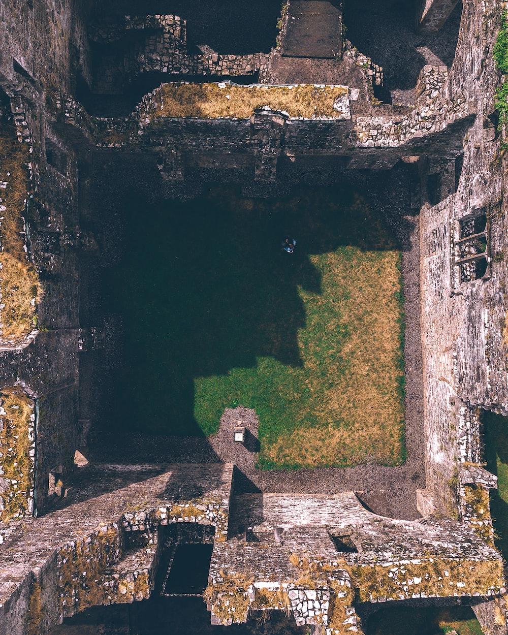 birds-eye view of concrete ruins
