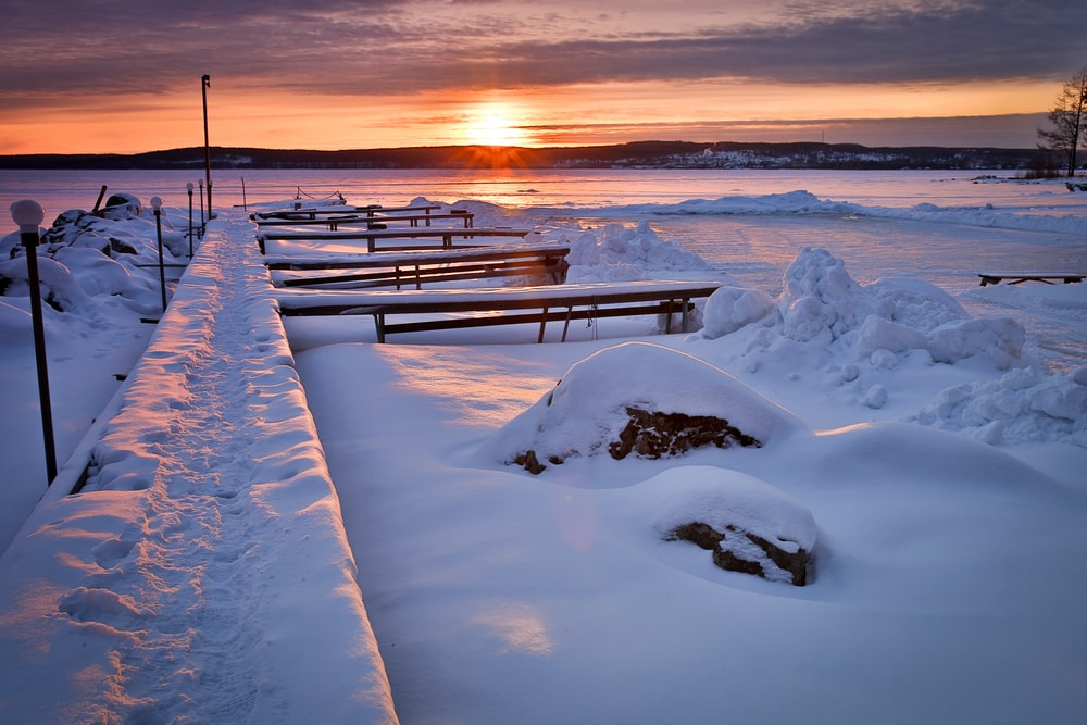 benches covered with snow