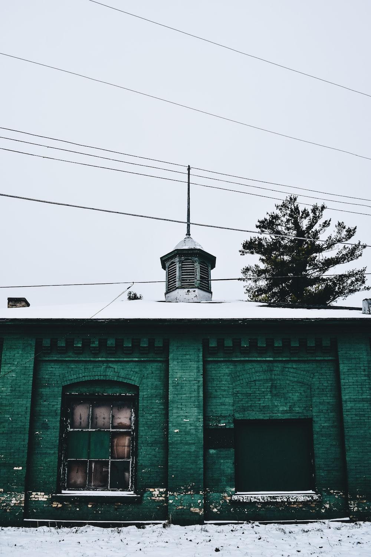 green brick building