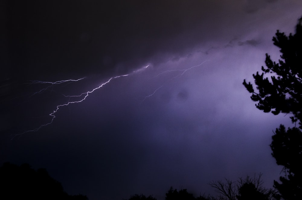 thunderstorms on cloudy sky