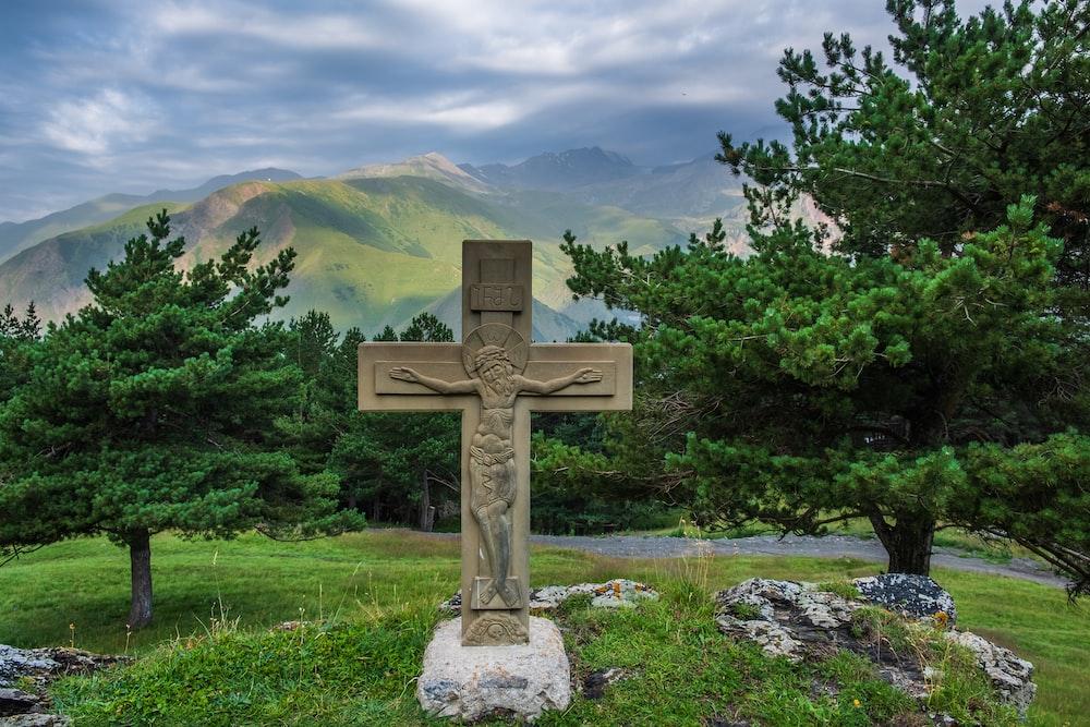 crucifix on tombstone