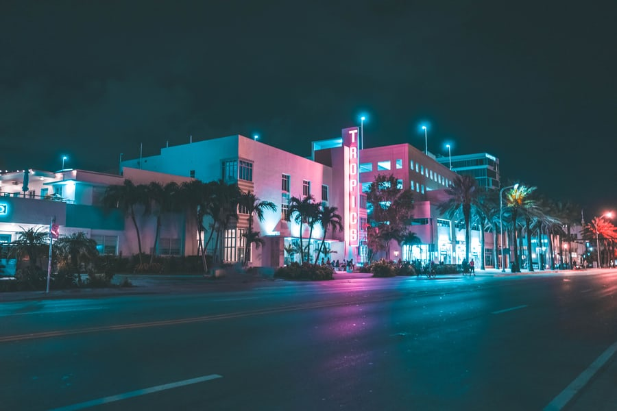 Miami street at night