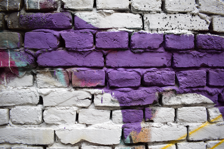 white and purple bricks