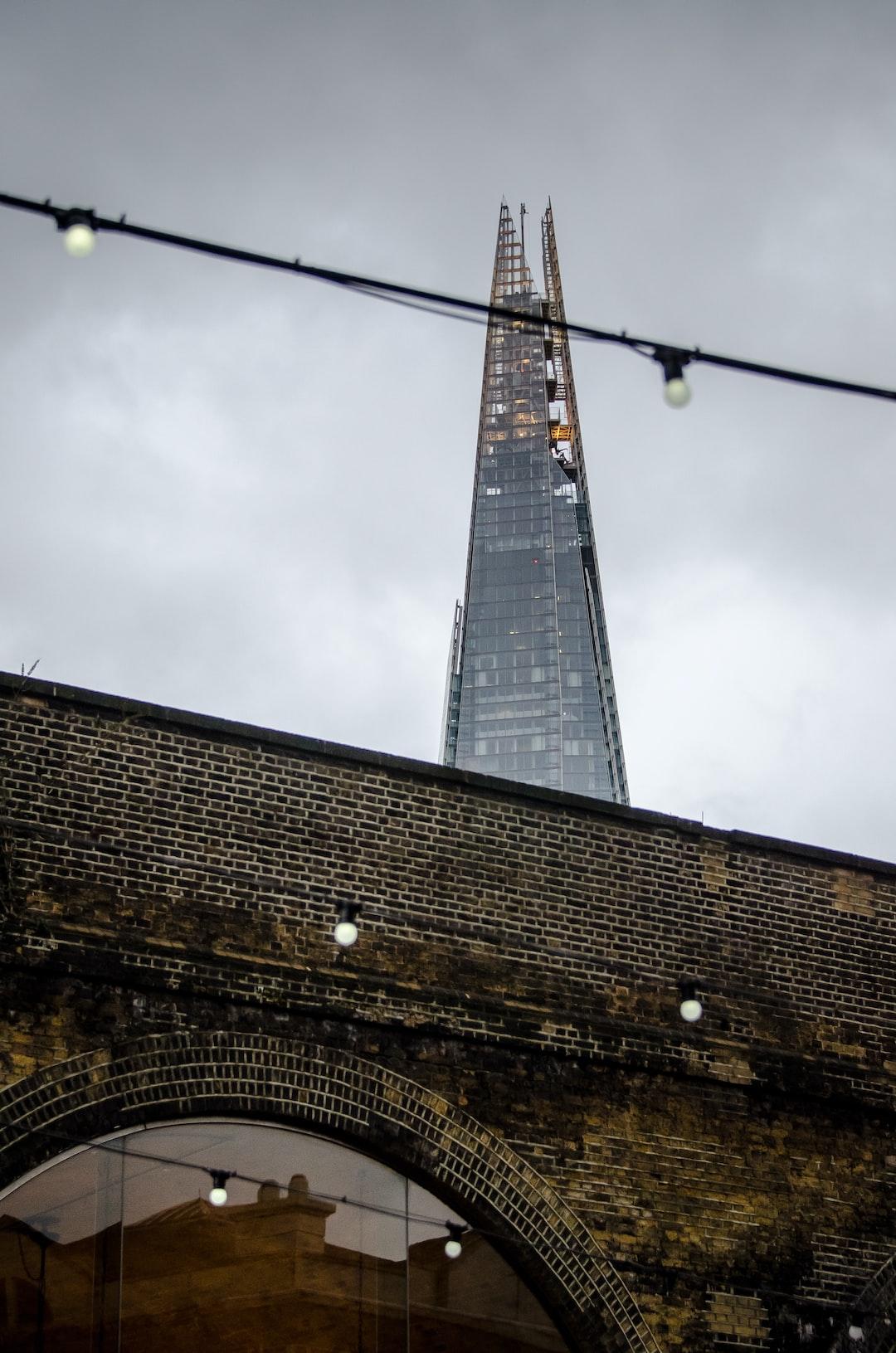 The Shard in London shot from a tube train