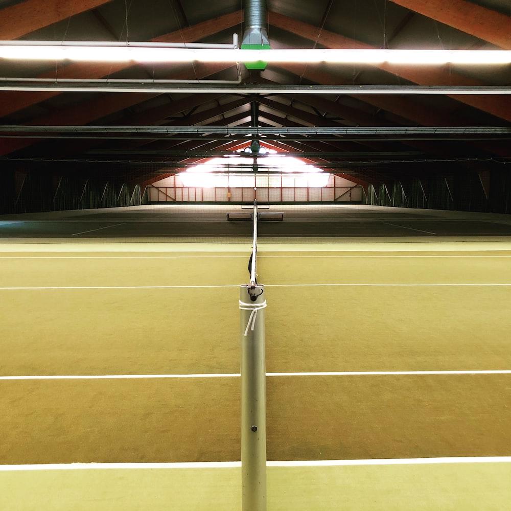 empty lawn tennis practice court