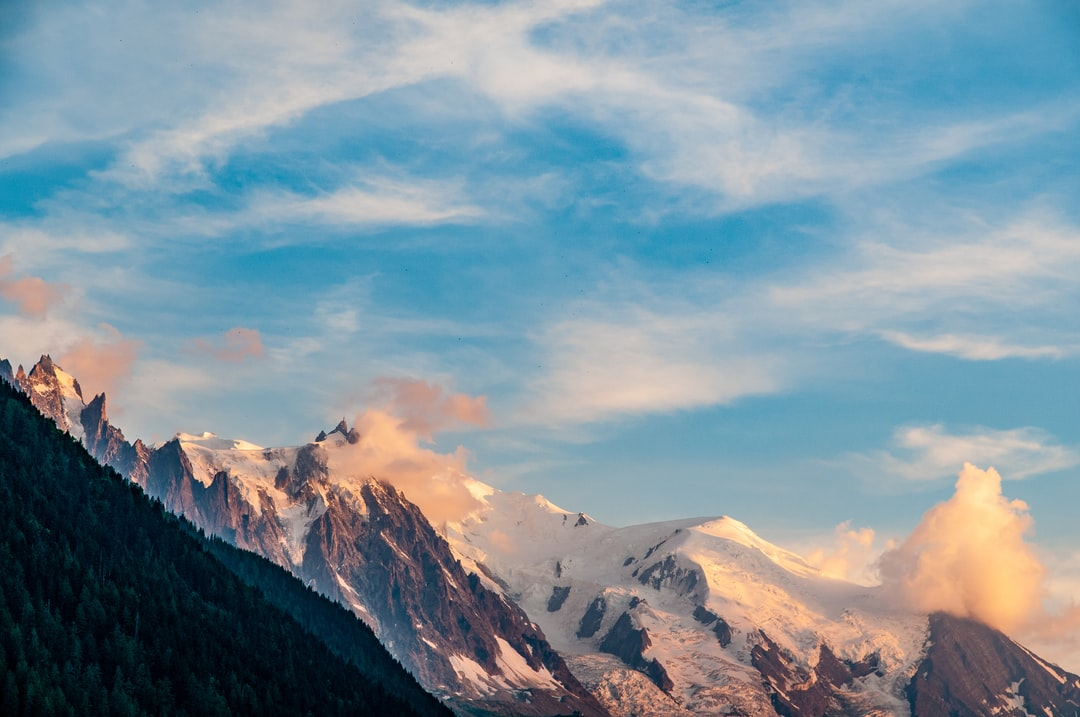 An evening hike ended with fabulous golden hour lighting looking down the valley towards Mont Blanc.