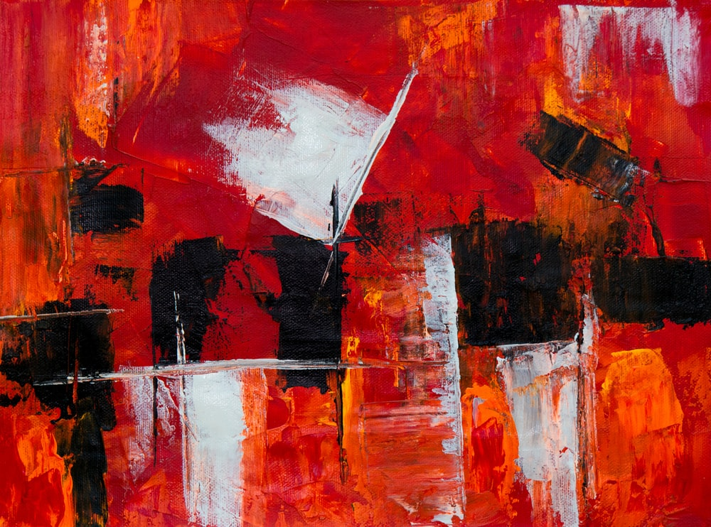 red and black abstract paiting