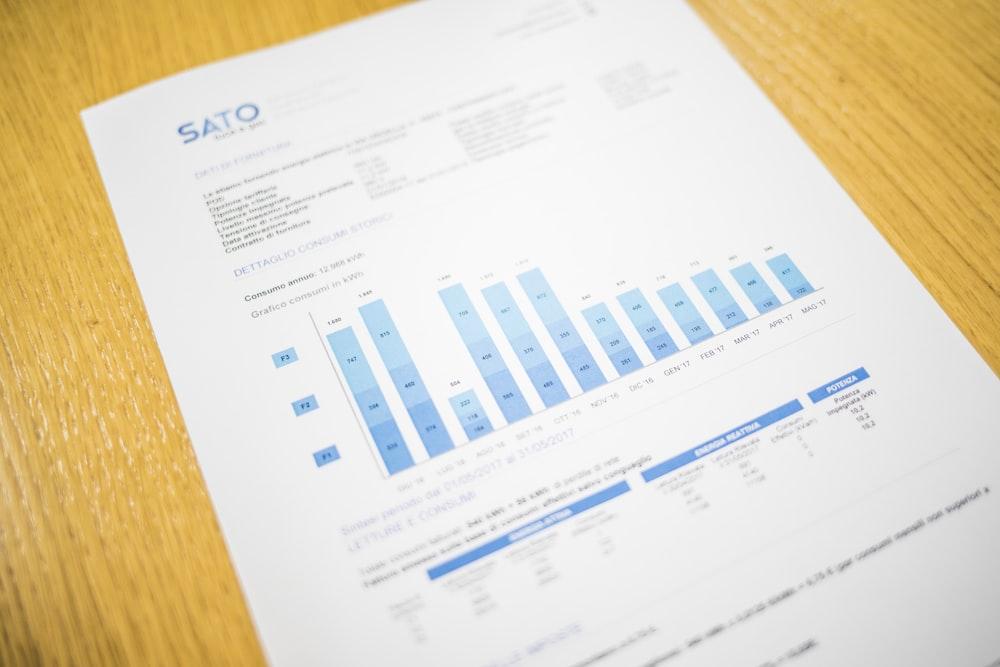white and blue Sato chart