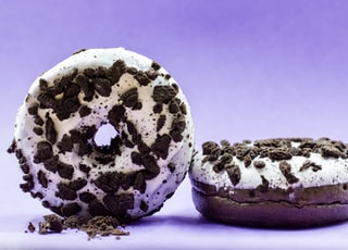 two cookies and cream doughnuts