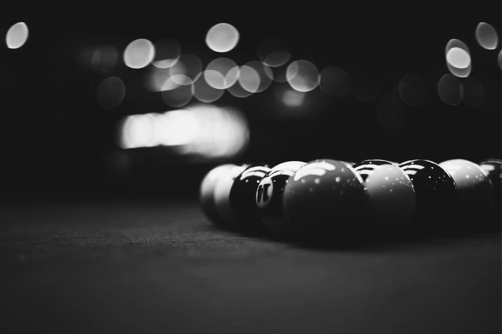 billiard balls in macro shot