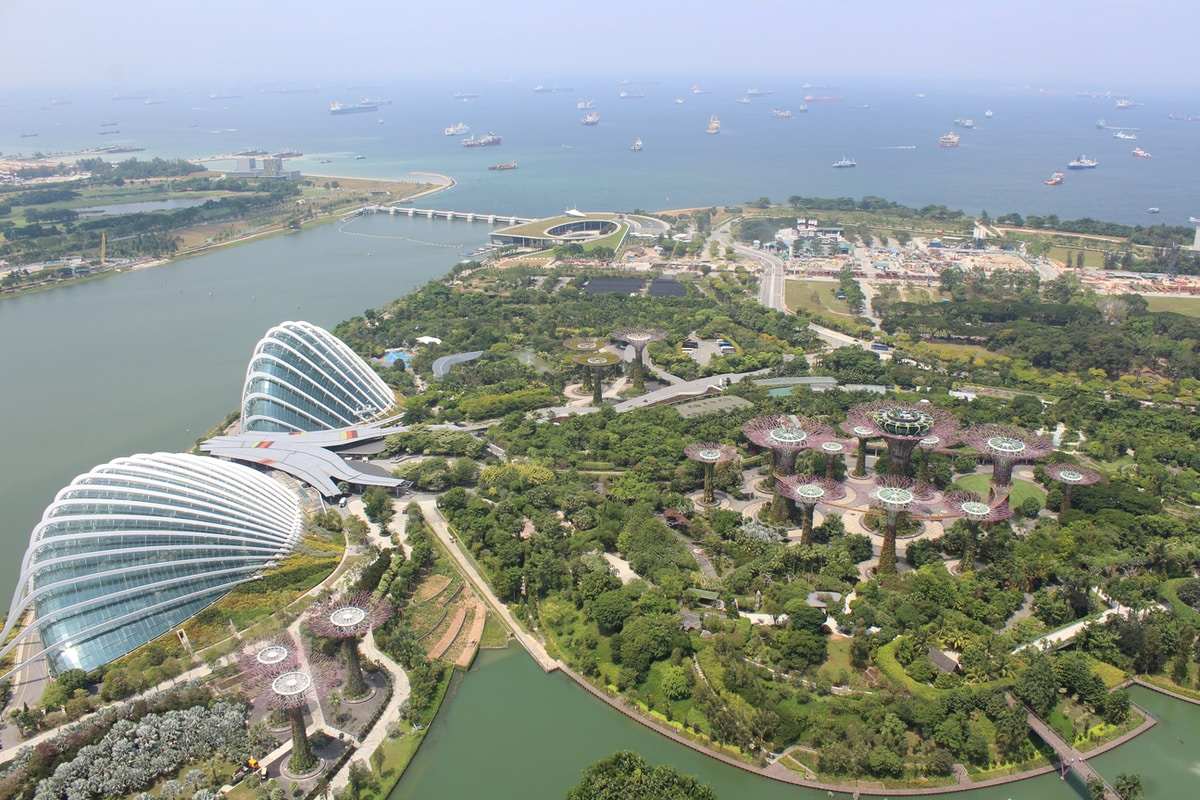 Singapore City Aerial View. Merlion Park. Best Places to Visit in SINGAPORE.