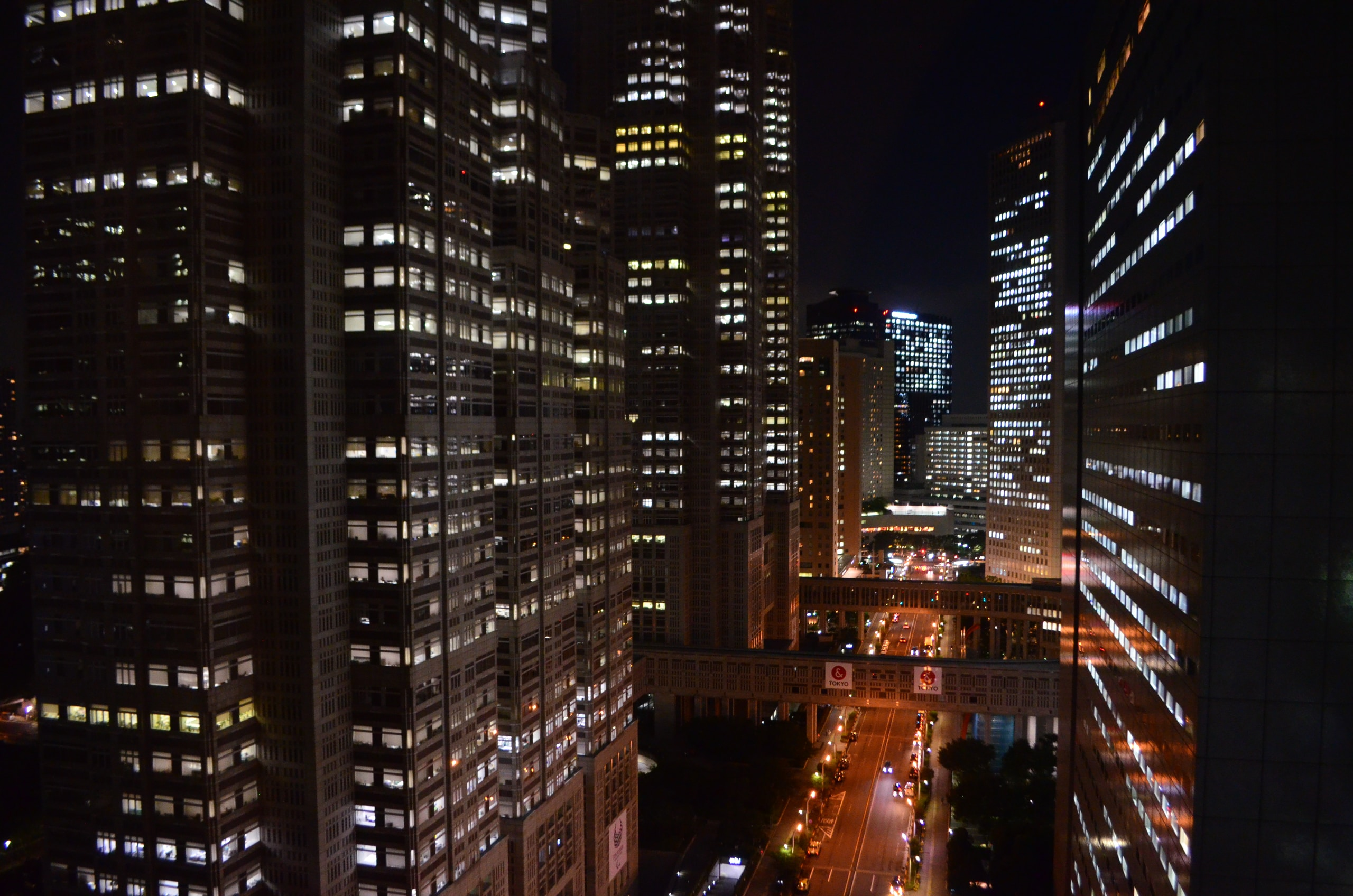 landscape of city buildings during night